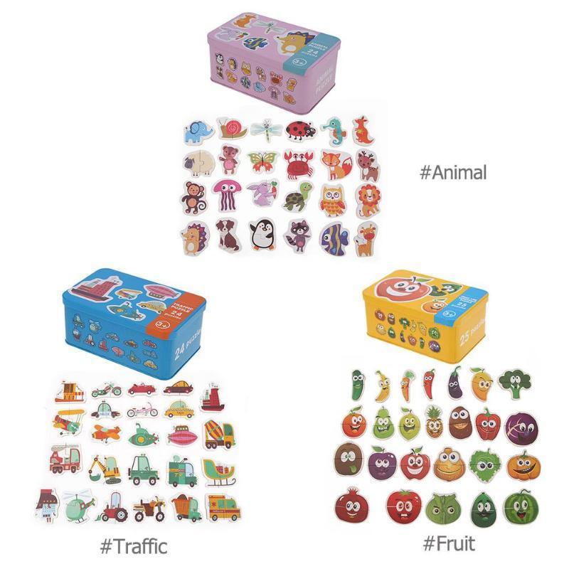 Juguetes para bebés Cognición de dibujos animados de madera Early Head Start Entrenamiento Puzzles Juguetes Caja de hierro para bebés Tarjetas Juego a juego Regalo para bebés