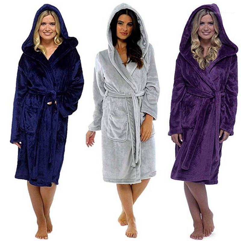 فضفاضة الجلباب إمرأة الصلبة اللون طويل ثوب النوم مريح مقنع حزام كم طويل حمام Famale