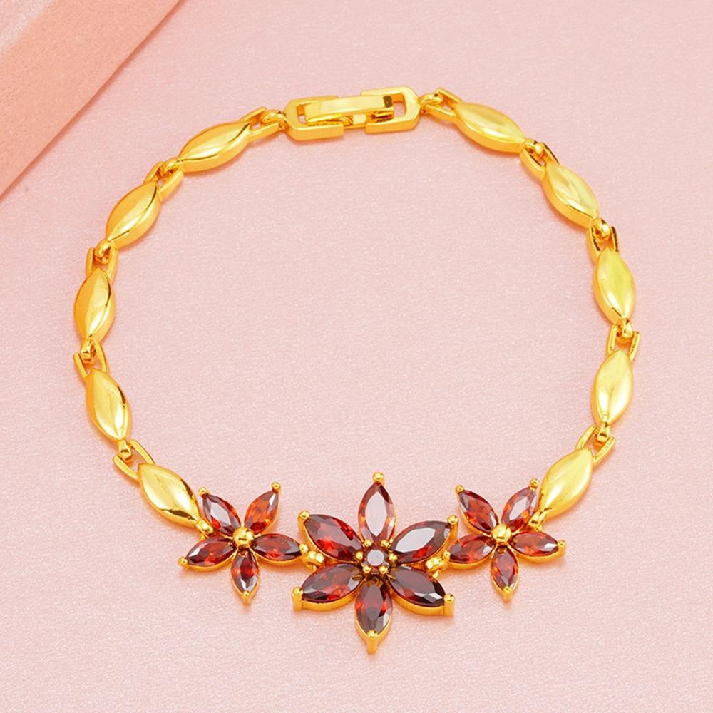 Brillant Red cubico zircone oro giallo 18k riempito catena delle donne del braccialetto di modo polso a forma di fiore