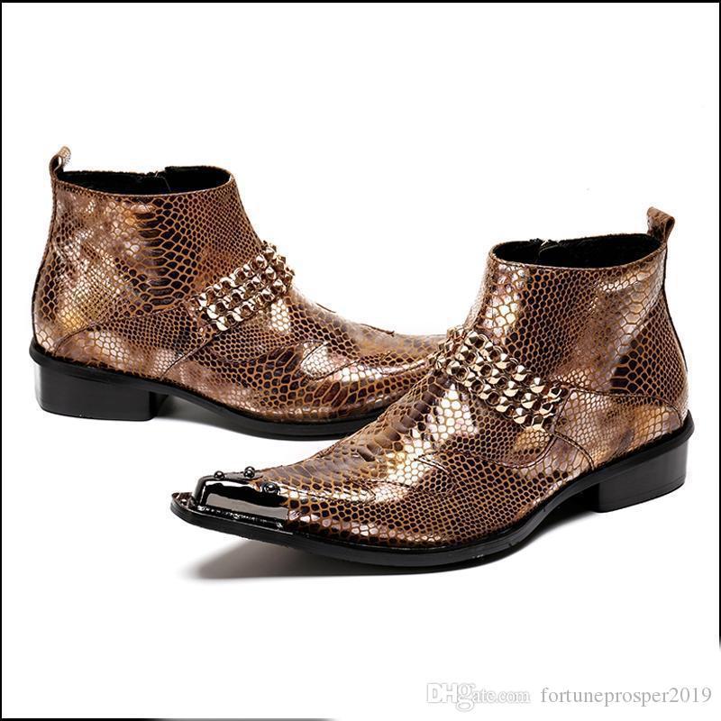 2019Plus modo di formato Alligator Man mano Scarpe a punta da cowboy del motociclo scarpe da ballo maschile paty uomini del cuoio genuino della caviglia BootsPlus Size