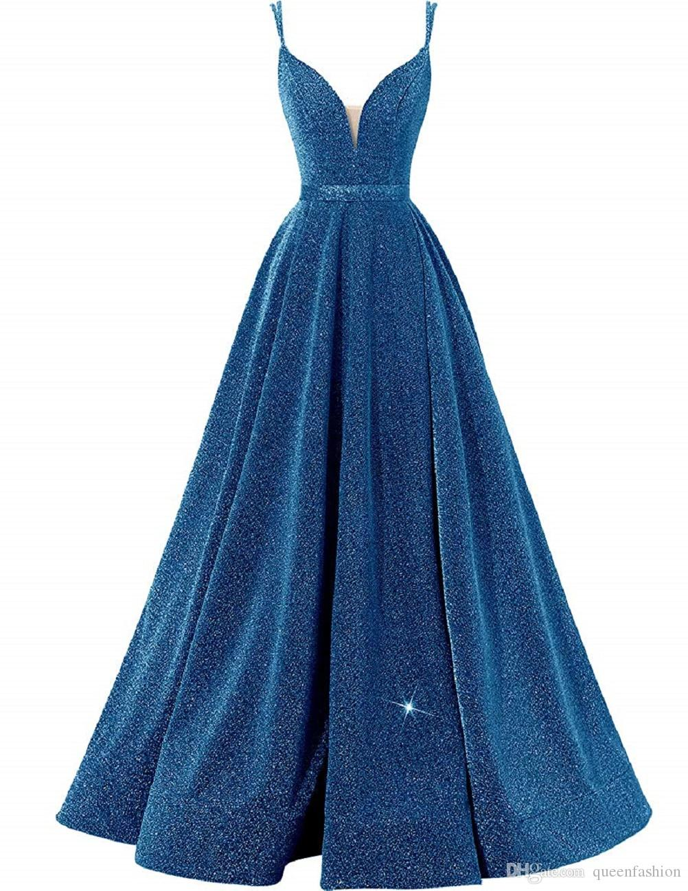 Glittery Side Slit Evening Dress Sexy Deep V-neck Spaghetti Strap Long Prom Dress wiith Pockets High Split Formal Ball Gown Lace up Back