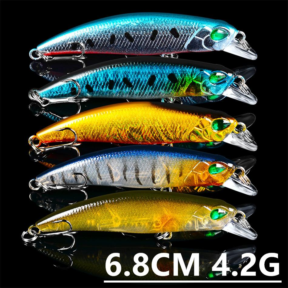 Mixed 5 Color 6.8cm 4.2g Minnow Fishing Hooks Fishhooks 8# Hook Plastic Hard Baits & Lures Pesca Fishing Tackle Accessories z-29