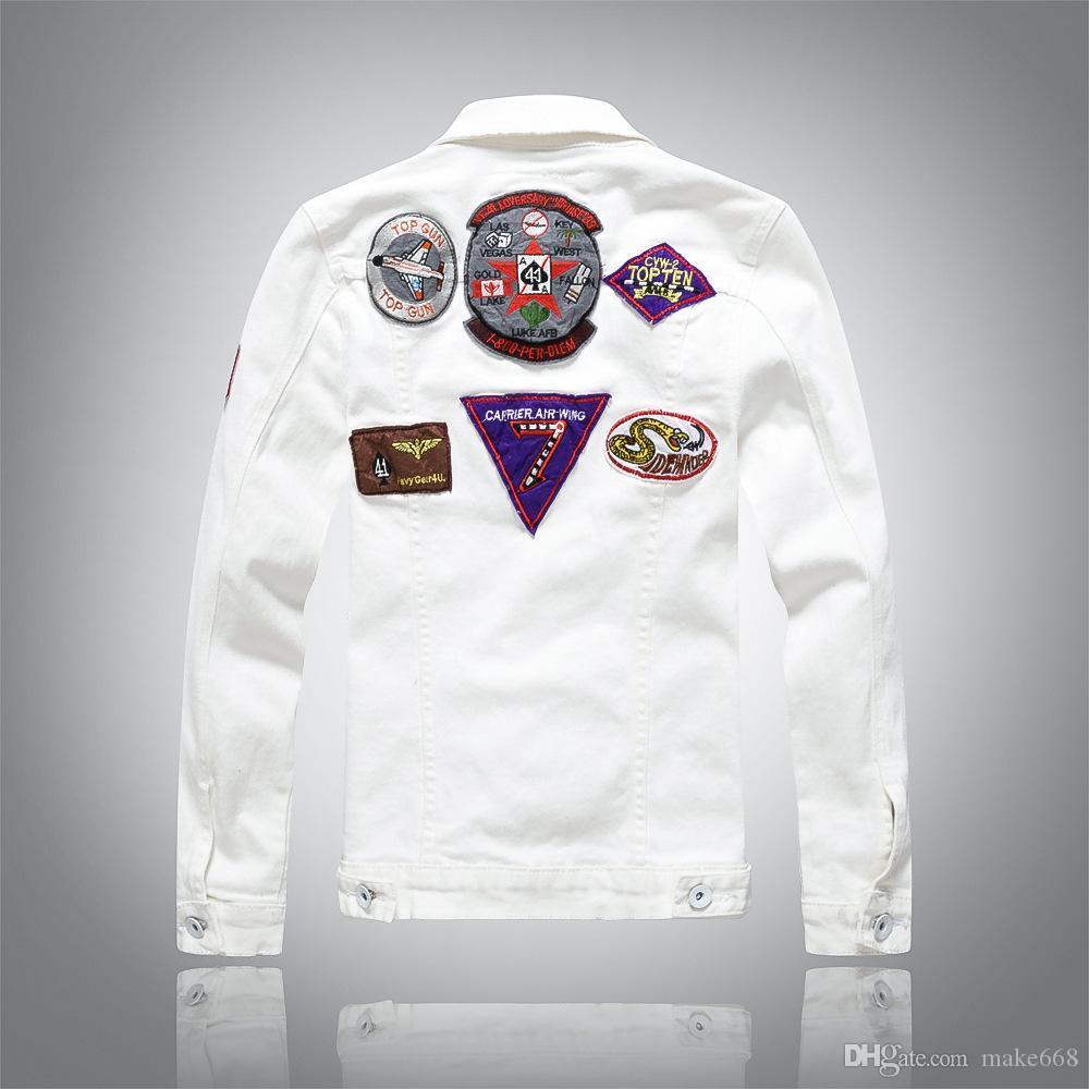 Adam Saf renk Nakış Ceket Boş zaman kovboy Kazak Gevşek ceket Uzun kollu beyaz Ceket Yeni stil