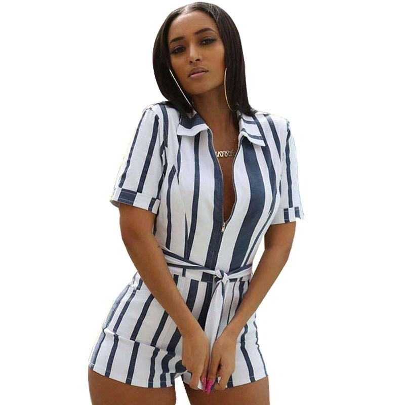 Plus Size Striped Playsuits Shorts Jumpsuit Women Front Zipper Turn Down Collar Short Sleeve Casual Romper Summer Overalls Belt