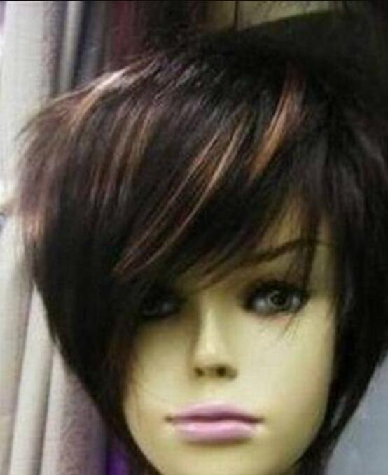 Парик дамы короткие коричневые смешанные смешанные натуральные волосы женские парики Hivision