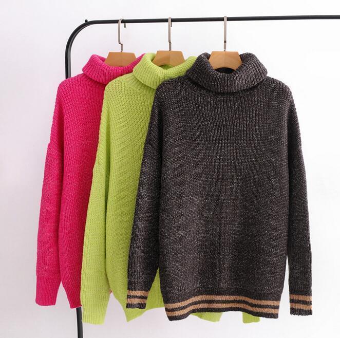 Couleur des bonbons en vrac Pull à col roulé en tricot Jersey Pull Femmes Casual