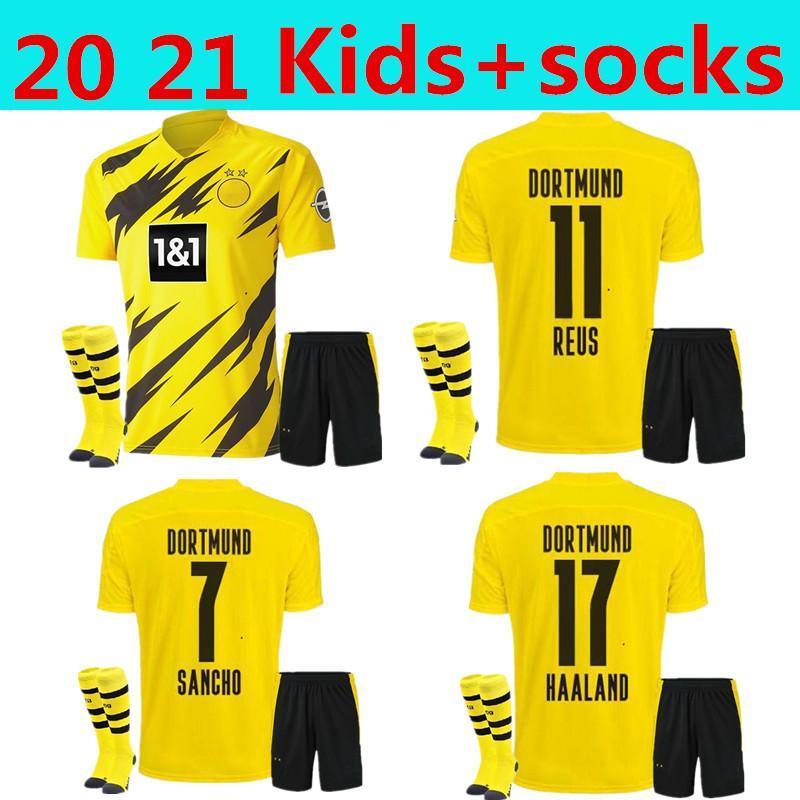 2020 Kid kit + calzini Jersey di calcio giallo # 17 Haaland Home 20 21 # 7 Sancho # 11 Reus Bambino Dortmund Camicia da calcio personalizzata con pantaloncini