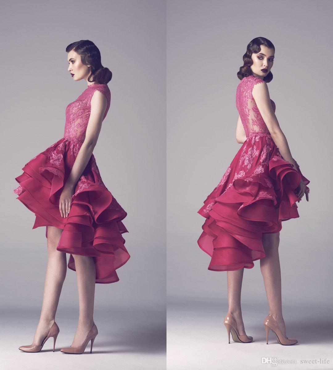 Paolo Sebastian Alto Basso 2020 Linea abito da sera senza maniche Backless Stanco Gonne Red Carpet Prom Dress Plus Size