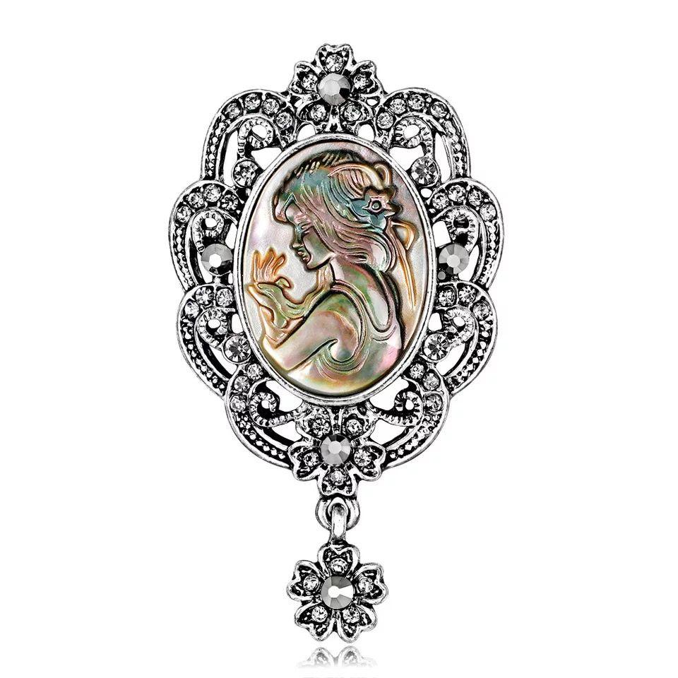 Women Brooches Retro Romantic Abalone Pearl Shell Beauty Girl Head Rainstone Diamond Crystal Flower Pendant Pins Brooch Dress Tie Suit Pin