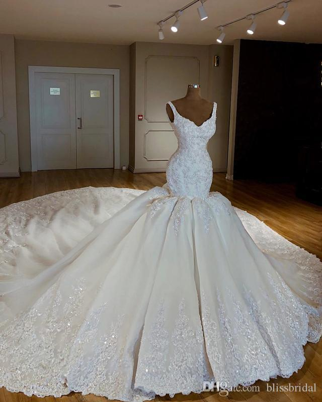 2019 Gorgeous Chapel Train Mermaid Wedding Dresses Spaghetti Lace Sequins Applique Ruffle Bridal Wedding Gowns Custom Made Lace-up Back