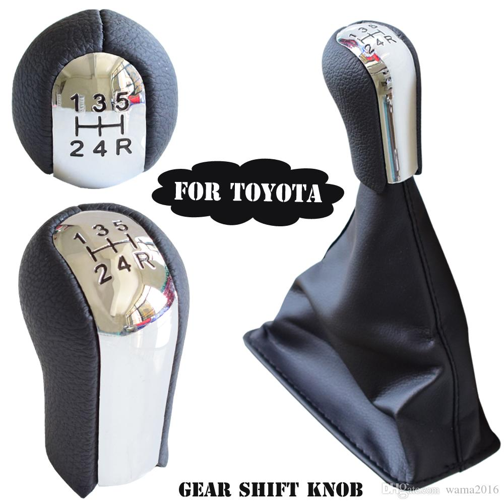 Chrome Leather 5 6 Speed Manual Car Gear Shift Knob With Dust-proof Set For Toyota Corolla AYGO Verso RAV4 YARIS VITZ 1992-2014