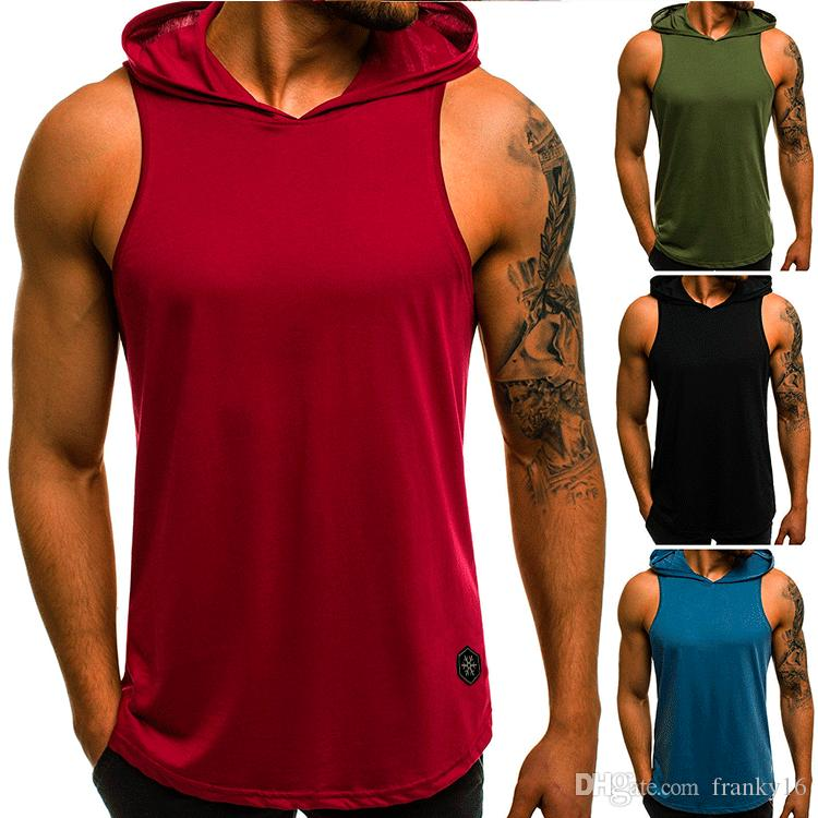 Erkek yaz eğlence spor yelek katı nefes kolsuz Hoody T gömlek Ince tankı üstleri Kapüşonlu yelek Tees