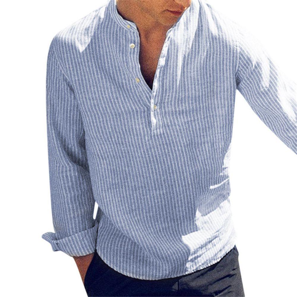 Nouveau mode printemps été décontracté Chemise homme manches longues en coton rayé Slim Fit Chemises col de-5XL