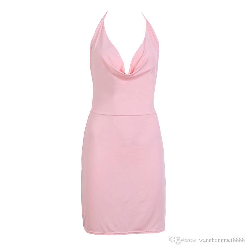 세련된 여름 여성 드레스 빈티지 민소매 Bodycon V 넥 캐주얼 파티 저녁 단색 폴리 에스테르 미니 원피스 1 개