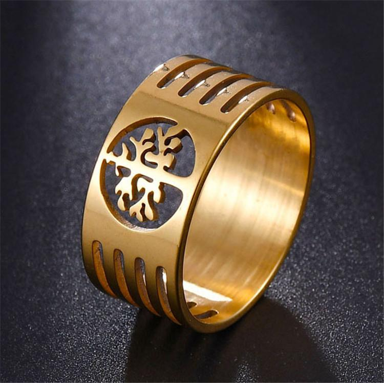 Stainless Steel Lady's Religious Tree Of Flower Ring Hollow Cut Egypt Tree Of Life Ring Jewelry Items Hollow out For Women 10mm Wide