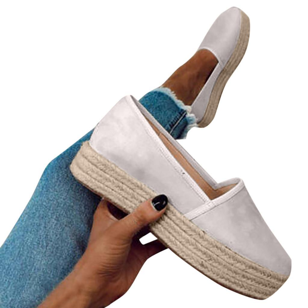 Faux Suede Espadrilles Shoes Slip-on Casual Loafers Women Platform Flats 2019 New Ballet Flats Ladies Shoe Zapatos Mujer#N3