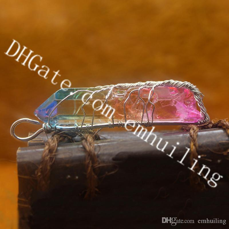 10Pcs Rainbow Quartz Tree of Life Pendants Antique Bronze Silver Color Wire Wrapped Irregular Rainbow Dyed Crystal Rock Wand Stick Pendant