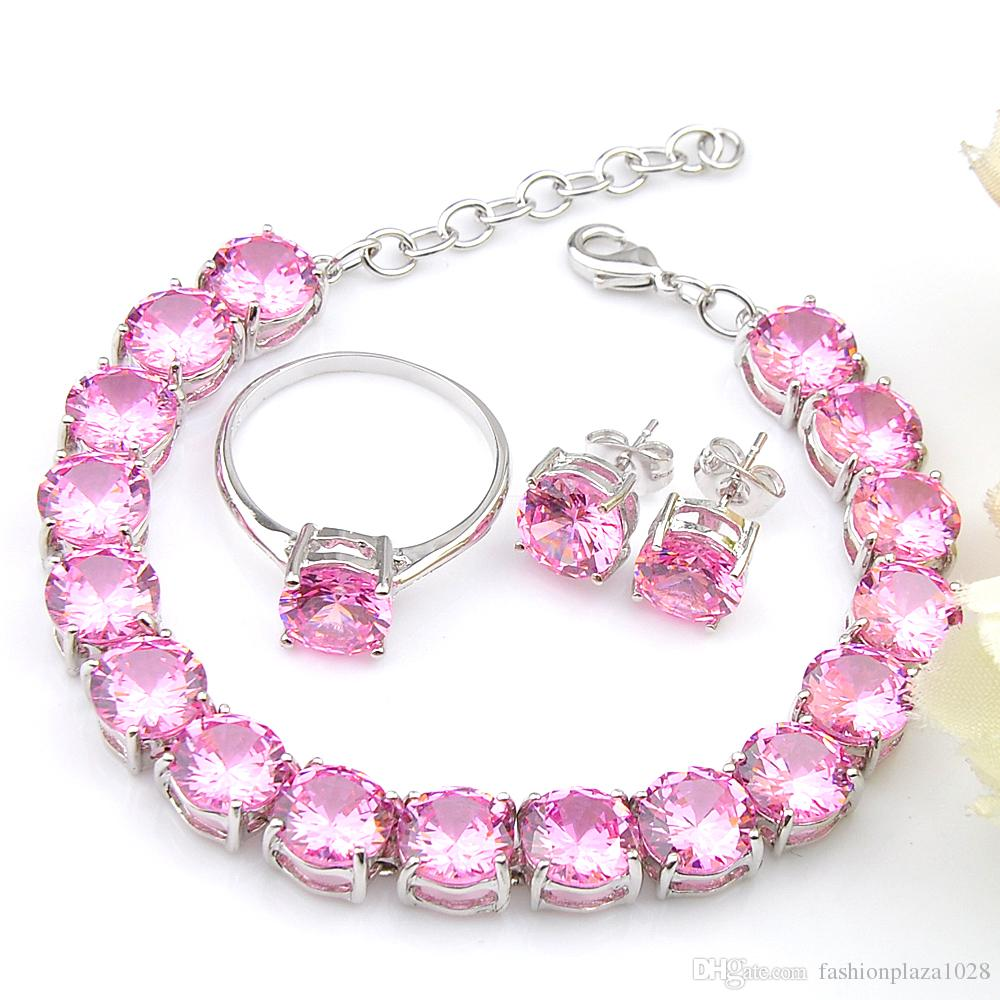 Wholesa Weddubg Jewelry Set Classic Round Pink Cubic Zirconia Gems 925 Sterling Silver Ring Stud Earrings Bracelet Jewelry Sets 8'inch