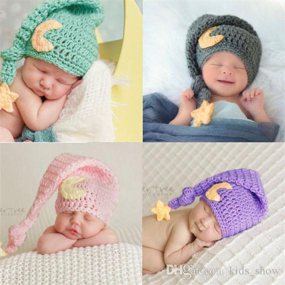 لطيف الوليد الطفل القمر طويل الذيل القبعات حك كاب للتصوير الدعائم الدافئة نجمة القمر الكروشيه قبعة طفل هدية الألبوم