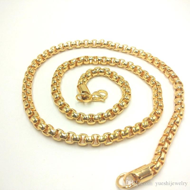 USENSET Collana in oro 18 kt con scatola in acciaio Stee 2/3/4 / 6MM 24 pollici Prezzo di fabbrica di alta qualità