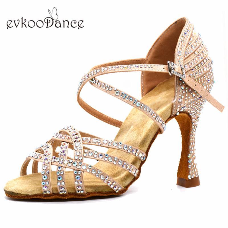 Evkoodance Customzied colore kaki nero Dance Shoes con Rhinostone formato Stati Uniti 4-12 Zapatos De Baile 10 centimetri Heel Professional Latin Ballroom