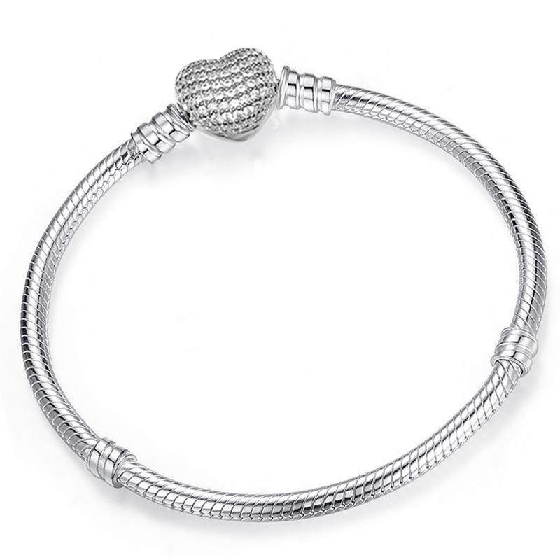 925 Ayar Gümüş Kalp Charms Bilezik Fit Pandora Avrupa Boncuk Takı Bileklik Kadınlar için Gerçek Gümüş Bilezik