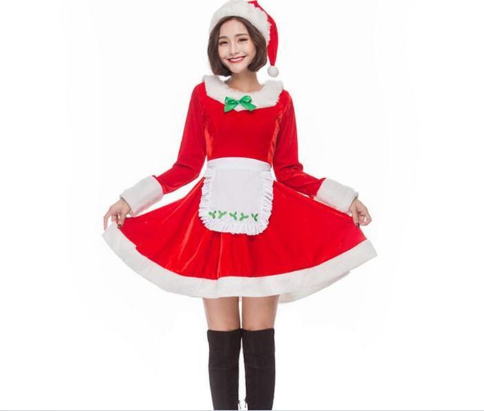 Costumes Mulheres do Natal Cosplay Sexy Mulheres Natal empregada garçom vestido A356