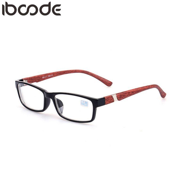 iboode Anti-blau Licht Myopie Brillen Holzmaserung Formatfüllend Männer Frauen Nearsighted Brillen Vintage-Mann Optische Brillen Gafas