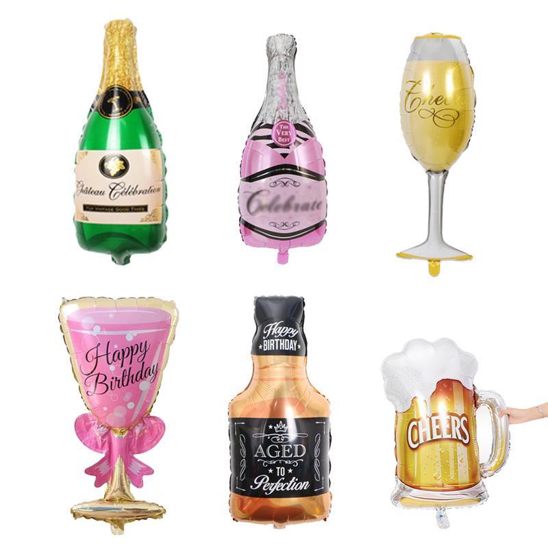 대형 호 일 샴페인 컵 맥주 풍선 결혼 기념일 와인 병 컵 풍선 발렌타인 생일 파티 축제 장식 C18112301