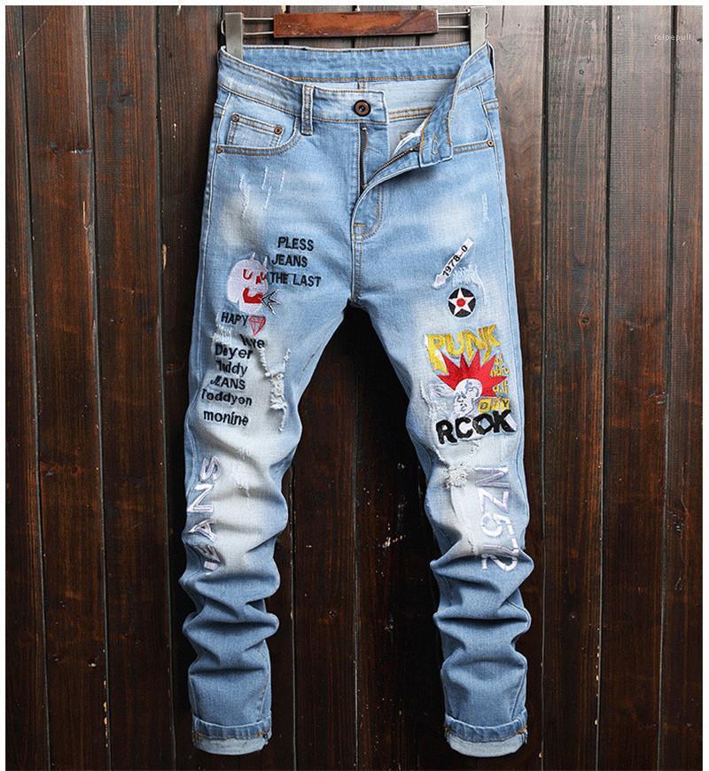 Vêtements pour hommes Designer Lettre Broderie Pantalons Personnalité Mode Hommes Crayon Ripped Pantalons Casual Luxury Designer 2020