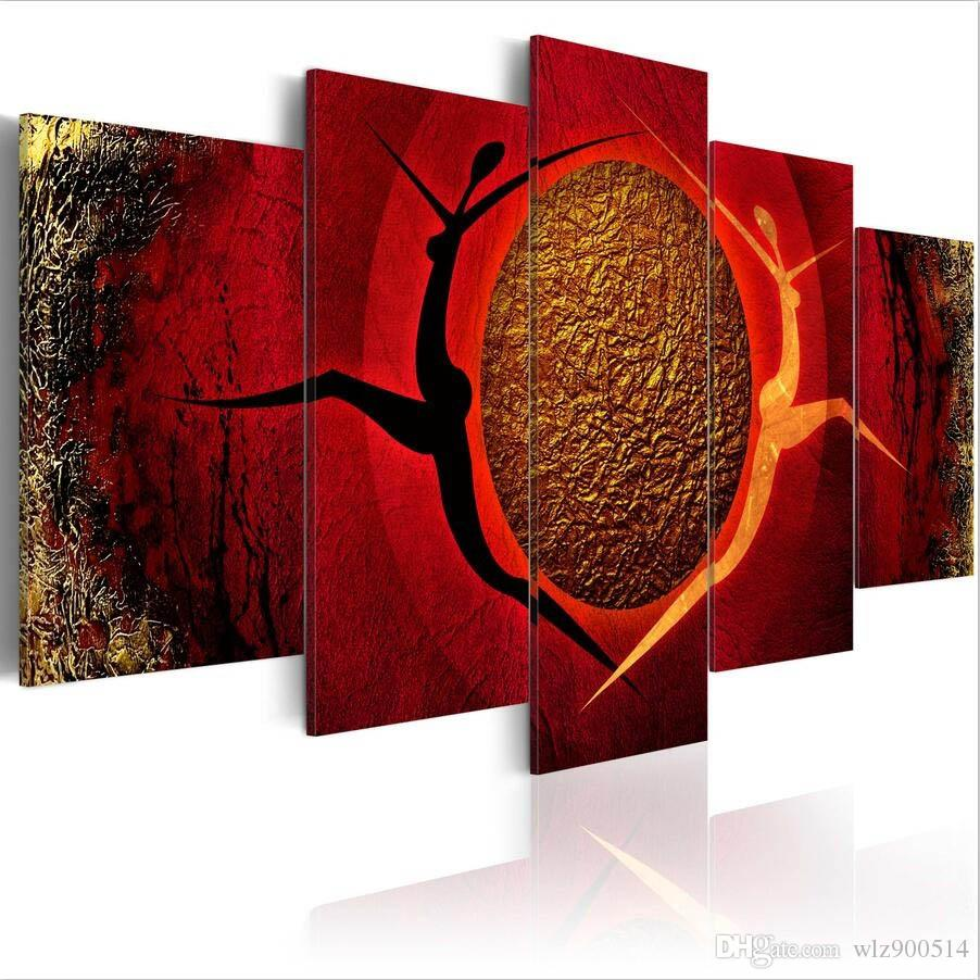 ( No Frame)5PCS/Set Abstract Around the Hot Dance Art Print Frameless Canvas Painting Wall Picture Home Decoration