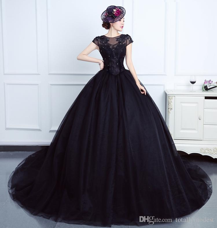 Navy Blue Ball Gown Tulle Lace Gothic Wedding Dress 2019 New Arrival With Cap Sleeves Vintage Non White Bridal Gowns With Color