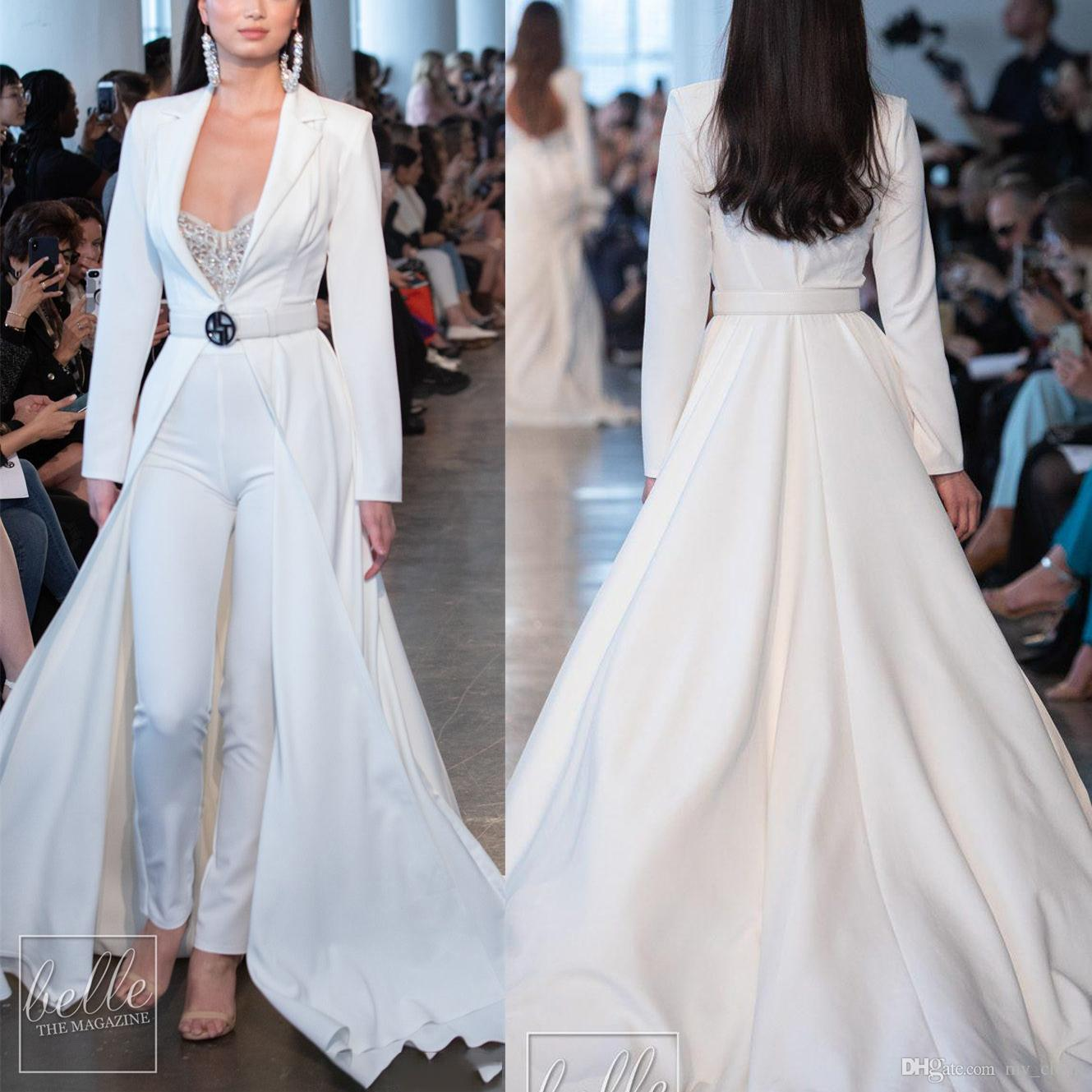 Fashion 2020 White Berta Prom Dresses Jumpsuits Long Sleeve Long Jackets Satin Evening Gowns Plus Size with Pants Suits Party Dress