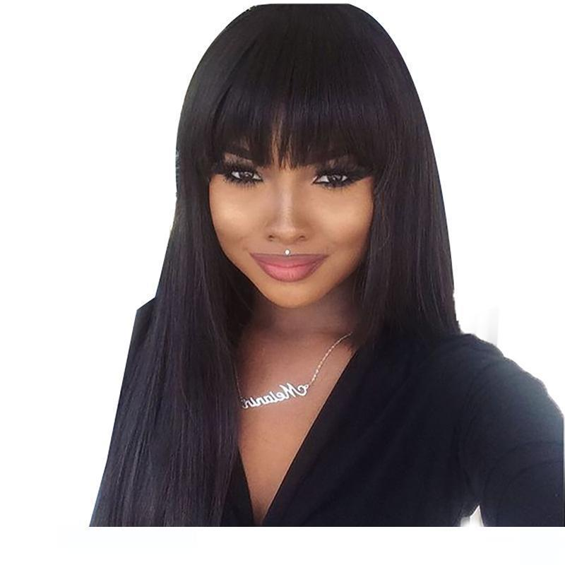 A Wigss With Bangs For Black Women Peruvian Virgin Pre Plucked Long Straight Full Lace Front Human Hair Wigs With Bangs Baby Hair