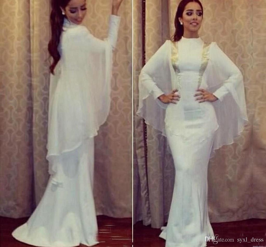 Großhandel Weiße Moslemische Abendkleider Lange Arabische Abendkleider 8  Meerjungfrau Abschlussballkleider Lang 8 Arabisch Abaya Lange Ärmel Von