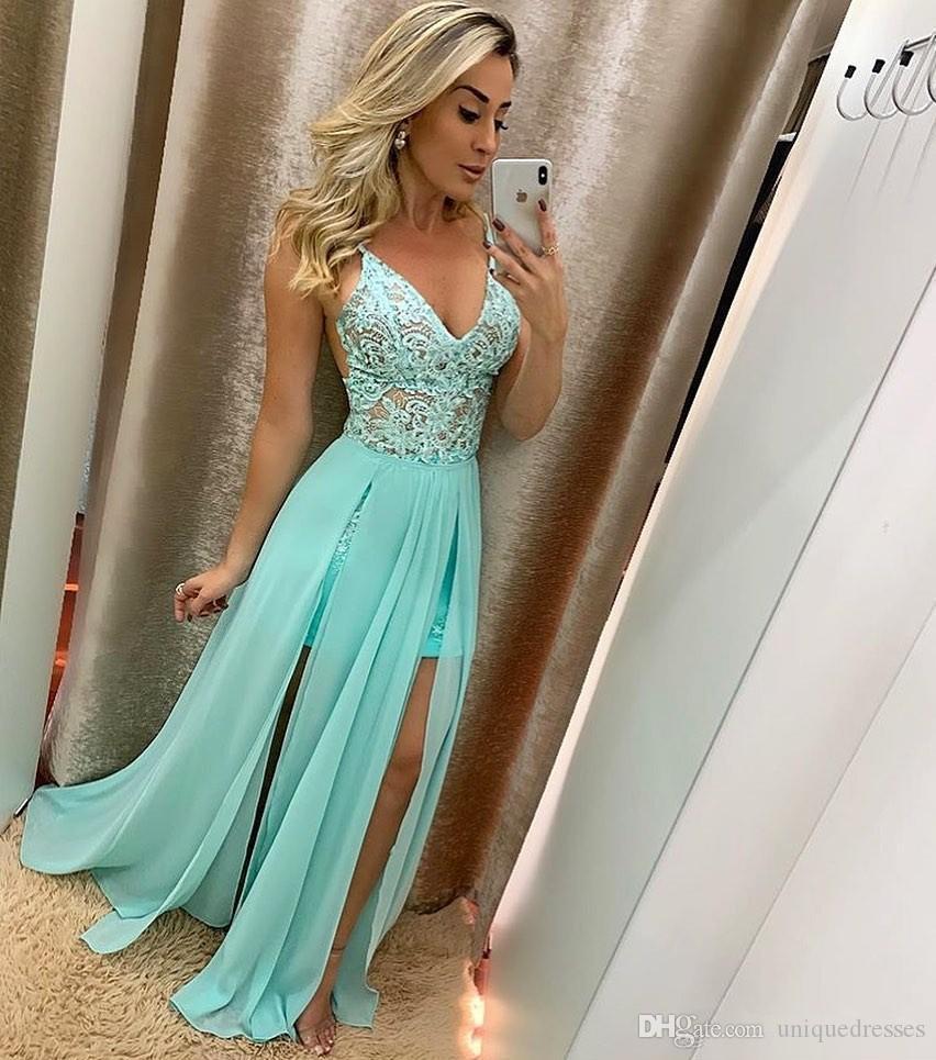Spaghetti Straps V Neck Long Chiffon Gowns Prom Evening Dresses Long Lace Appliques A Line Plus Size Formal Dress