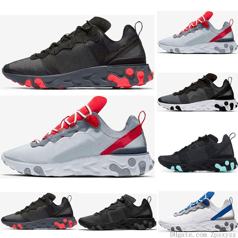 Sıcak Erkekler Kadın Jade Güneş Kırmızı Üçlü Siyah Beyaz Kraliyet Kırmızı Spor Sneakers Ayakkabı Boyutu 36-45 Element 55 87 Koşu Ayakkabı Tepki
