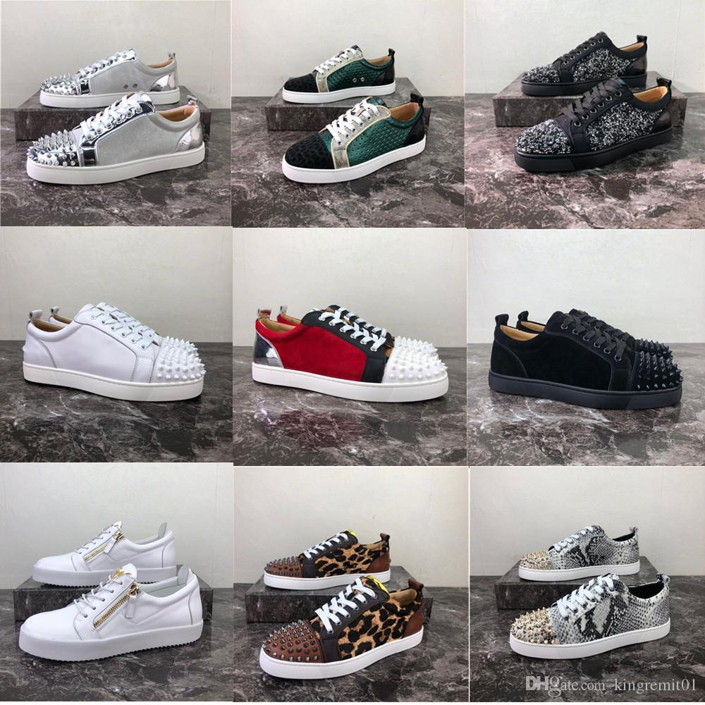 2020 Новый роскошный красный Bottom Заклепка обувь Мужчины Женщины Повседневная обуви Шипованные Шипы Мода Insider Кожа низкие сапоги Дизайнер Sneaker Большой Size34-48