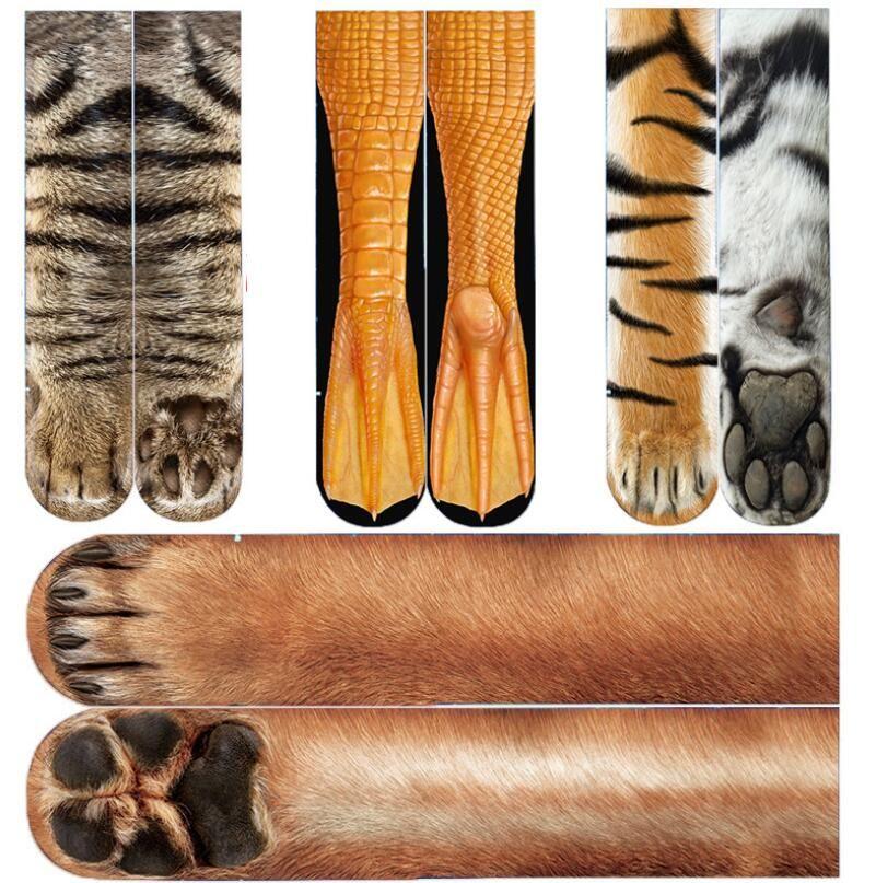 الكبار الجوارب للجنسين 3D مطبوعة الحيوان باو طاقم سوك الكبير للأطفال تدفئة الساق الجوارب القطنية الرياضة سكيت جوارب الهيب هوب