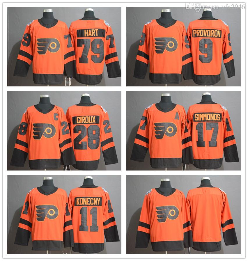Flyers de Philadelphie 28 Claude Giroux 79 Carter Hart 9 Ivan Provorov 11 Travis Konecny 17 Wayne Simmonds Chandails de hockey de la série stade 2019