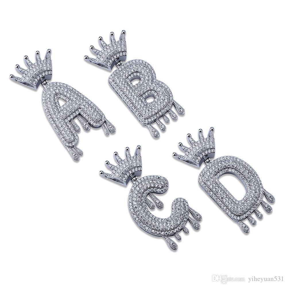 A-Z İlk Kabarcık Harf Kolye İsim Taç Damla Mektupları kolye Salkım Erkekler Kadınlar Altın Gümüş Renk cz Hip Hop Takı Hediyeler