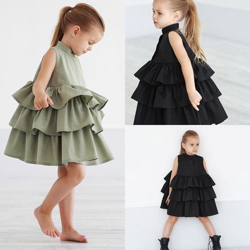 Лето Cute Черного Зеленый шар платье девушка платье Kid Девушка платья партии рукава O шея торт Ruffled Пачка Bubble платье