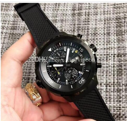 Spedizione gratuita Ocean orologio al quarzo quadrante nero Men Rubber Band Cronografo Montre Homme