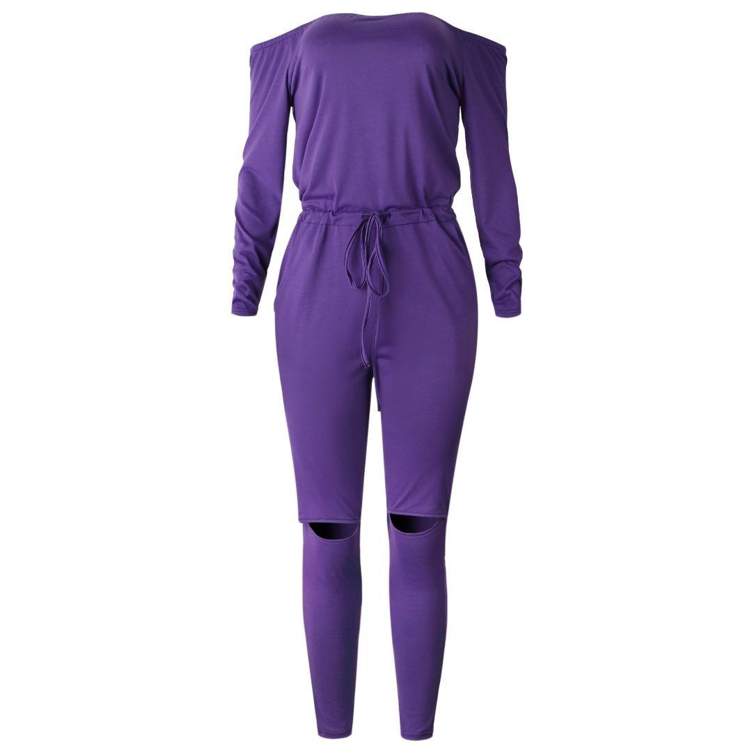 Wontive Purple Colour One Word Collar Collar 튜브 탑 Strapless Long Sleeve 섹시한 오픈 무릎 바지 점프 슈트 바디 슈트