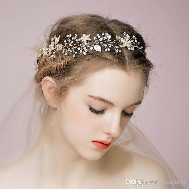 New Bridal Headbands With Pearls Crystals Rhinestones Flowers Women Handmade Hair Jewelry Wedding Headpieces Bridal Accessories DB-HP509