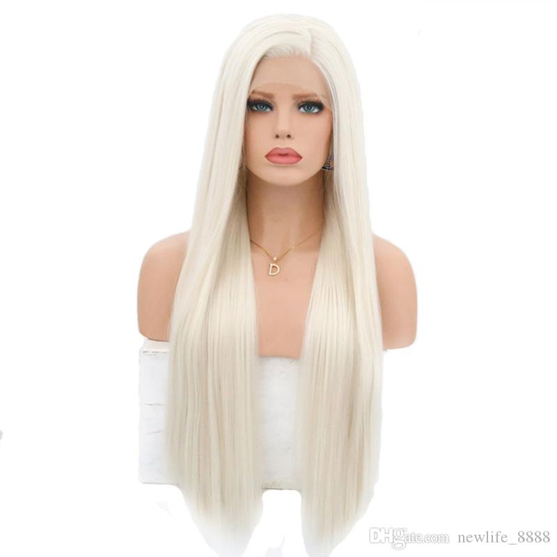 Meiyang Fashion Side Part Long Silky Straight Lace Front White Wig Synthetic Women Wig Half Hand Tied Heat Resistant Fiber Hair 16-26 Inch