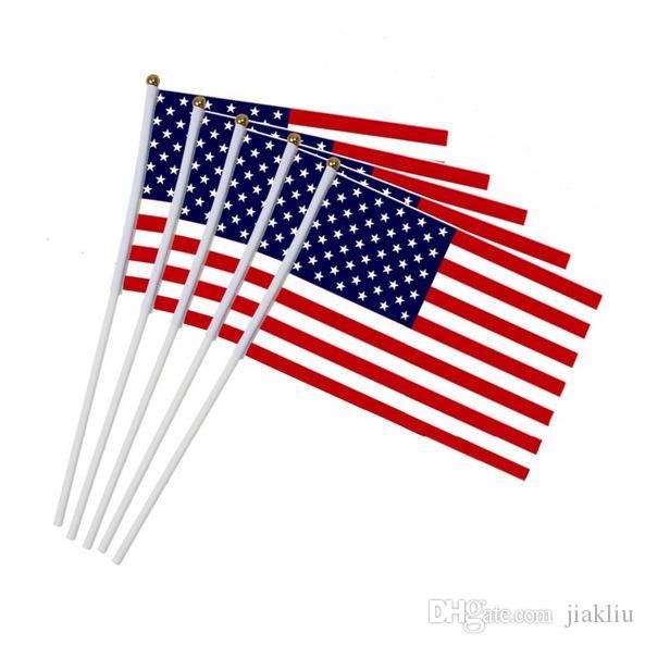 14 * 21cm No.8 bandera americana ondeando la bandera de Estados Unidos gran mancha al por mayor de poliéster de la estrella de la bandera de la lentejuela El saludo a la A447 partido