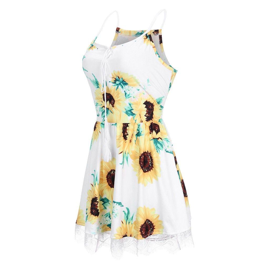 2019 ropa atractiva del verano tapas camiseta femenina Las mujeres forman la vendimia ocasional de la correa del cordón de la impresión del girasol de tiras mangas de Shein Harajuku