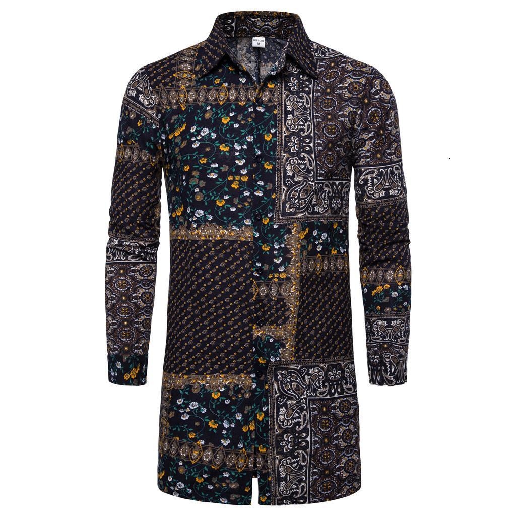 남성 캐주얼 셔츠 Camisa Masculina 남자 긴 소매 셔츠 망 가을 느슨한 패션 일일 인쇄 상단 블라우스 M-3XL