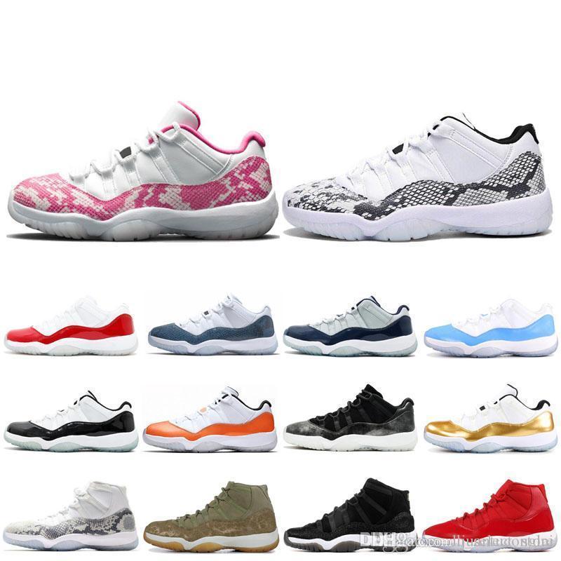 Nouveau 11 chapeau et robe de basket-ball Chaussures Hommes Femmes 11s Barons Bred Low Rose Marine en peau de serpent blanc rose haut Concord 23 sport Chaussures de sport